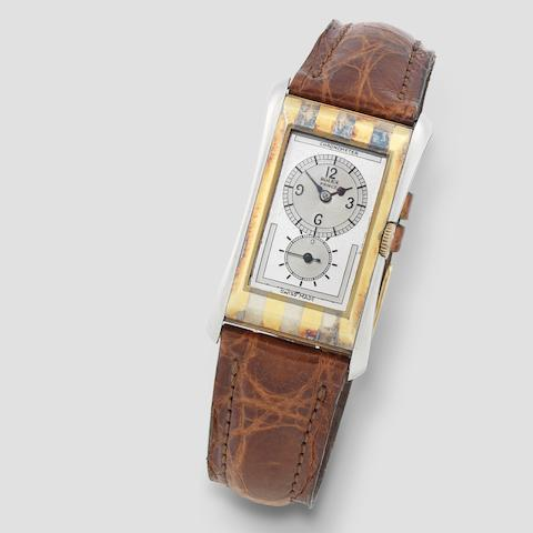 Rolex. A fine 18K two tone gold manual wind rectangular wristwatch  Prince 'Tiger Stripe', Ref: 1490, Circa 1930