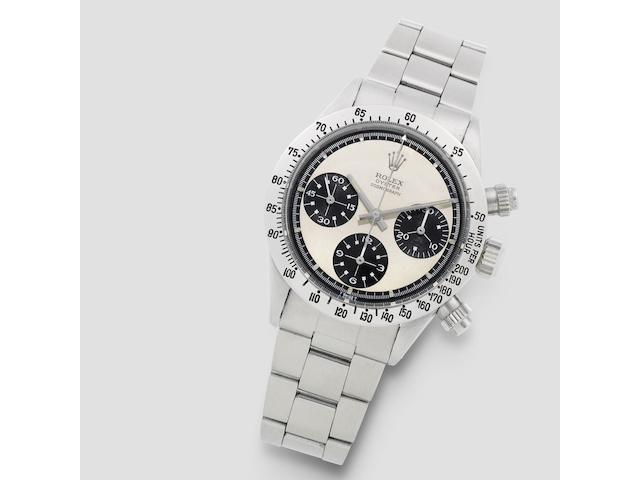 Rolex. A fine and rare stainless steel manual wind chronograph bracelet watch with Paul Newman exotic dial  Cosmograph Daytona 'Paul Newman', Ref: 6265/6262, Circa 1970