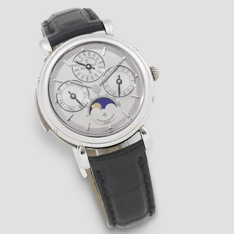 Vacheron Constantin. An exceptionally fine and very rare platinum manual wind minute repeating perpetual calendar wristwatch with moon phase  Patrimony, Ref: 30020, Circa 2005