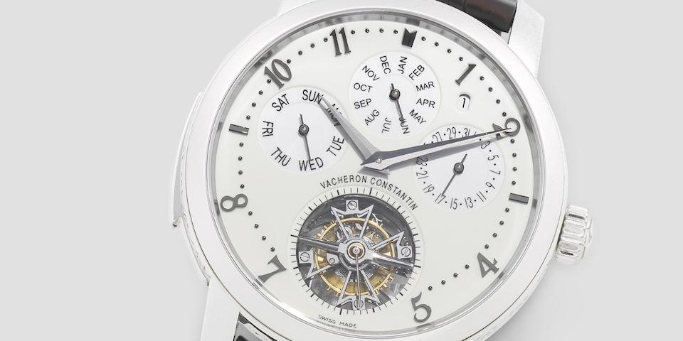 Vacheron Constantin. An exceptionally fine platinum manual wind minute repeating perpetual calendar wristwatch with tourbillon and power reserve to reverse  Traditionnelle, Ref: 80172, Recent