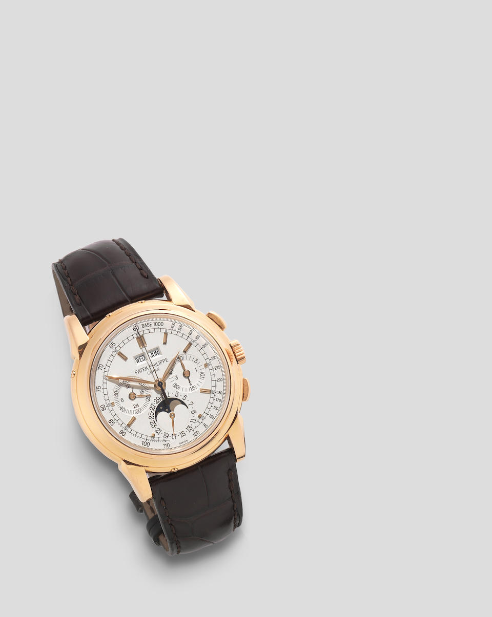 Patek Philippe. A fine 18K rose gold perpetual calendar chronograph wristwatch with moon phase Ref: 5970R, Circa 2007
