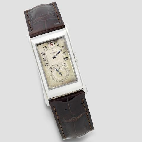Rolex. An unusual stainless steel manual wind jump hour wristwatch  Prince Jump Hour, Ref: 1491, Circa 1930