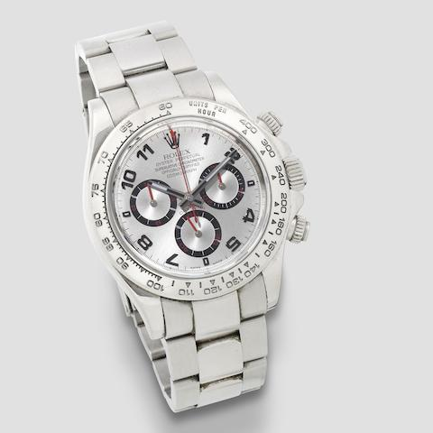 Rolex. An 18K white gold automatic chronograph bracelet watch  Daytona, Ref: 116509, Purchased 16th November 2006