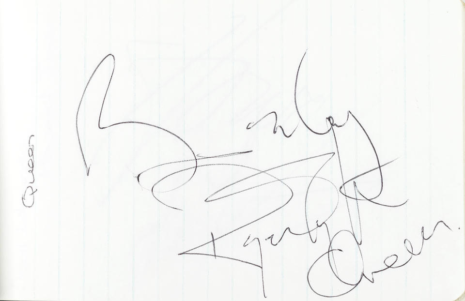 Live Aid: A notebook containing various autographs of performers at the historic Wembley concert, 13th July 1985,