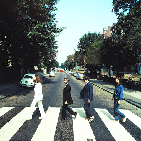 Iain MacMillan (British, 1938-2006): A transparency of The Beatles on 'Abbey Road',