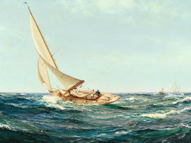 Montague Dawson (British, 1890-1973) Rounding the buoy