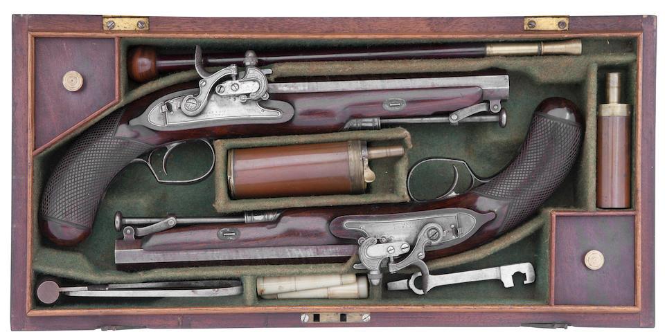 A Fine And Rare Cased Pair Of 18-Bore Forsyth Patent Sliding Primer Officer's Pistols