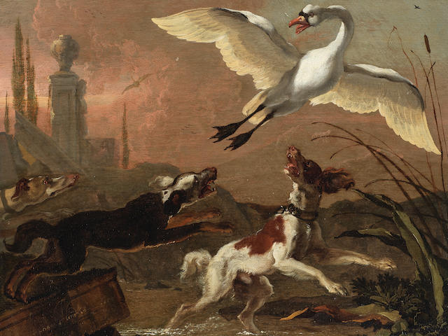 Abraham Danielsz. Hondius (Rotterdam circa 1631-1691 London) A swan chased by three dogs