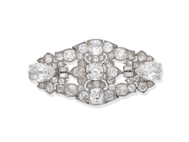 Art Deco diamond plaque brooch, circa 1930