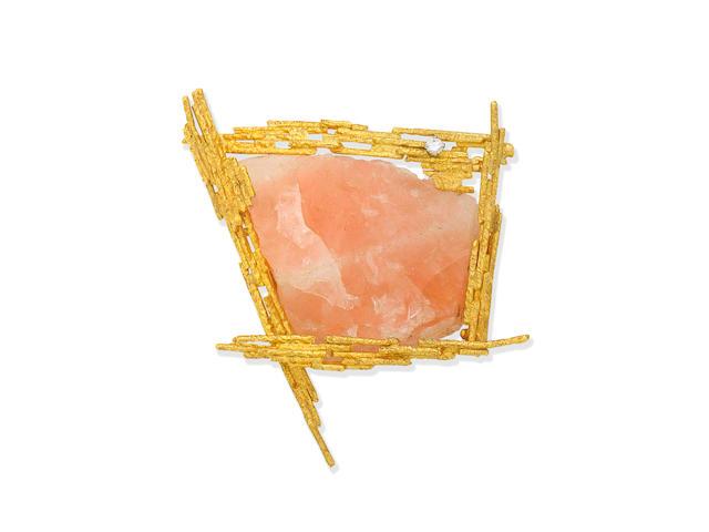 Grima: Rose Quartz and diamond brooch,