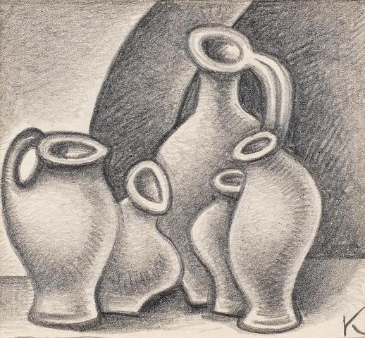Dmitry Krasnopevtsev (Russian, 1925-1995) Still life with jugs (unframed)