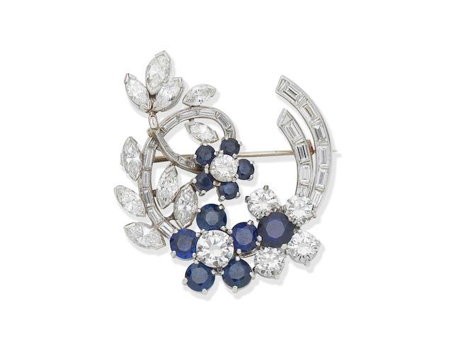 Sapphire and diamond brooch,