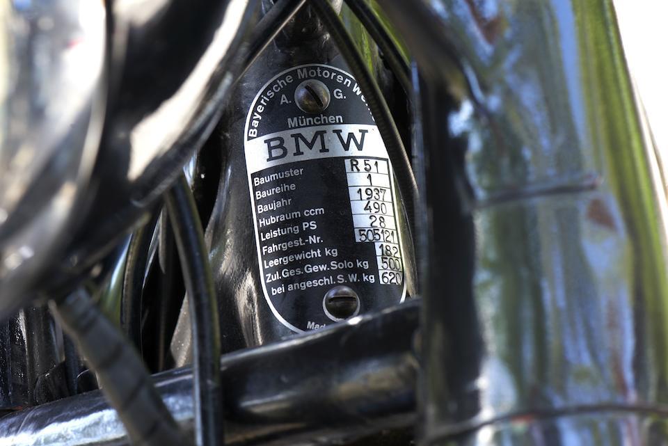 1937 BMW 494cc R51 Frame no. 505121 Engine no. 9125