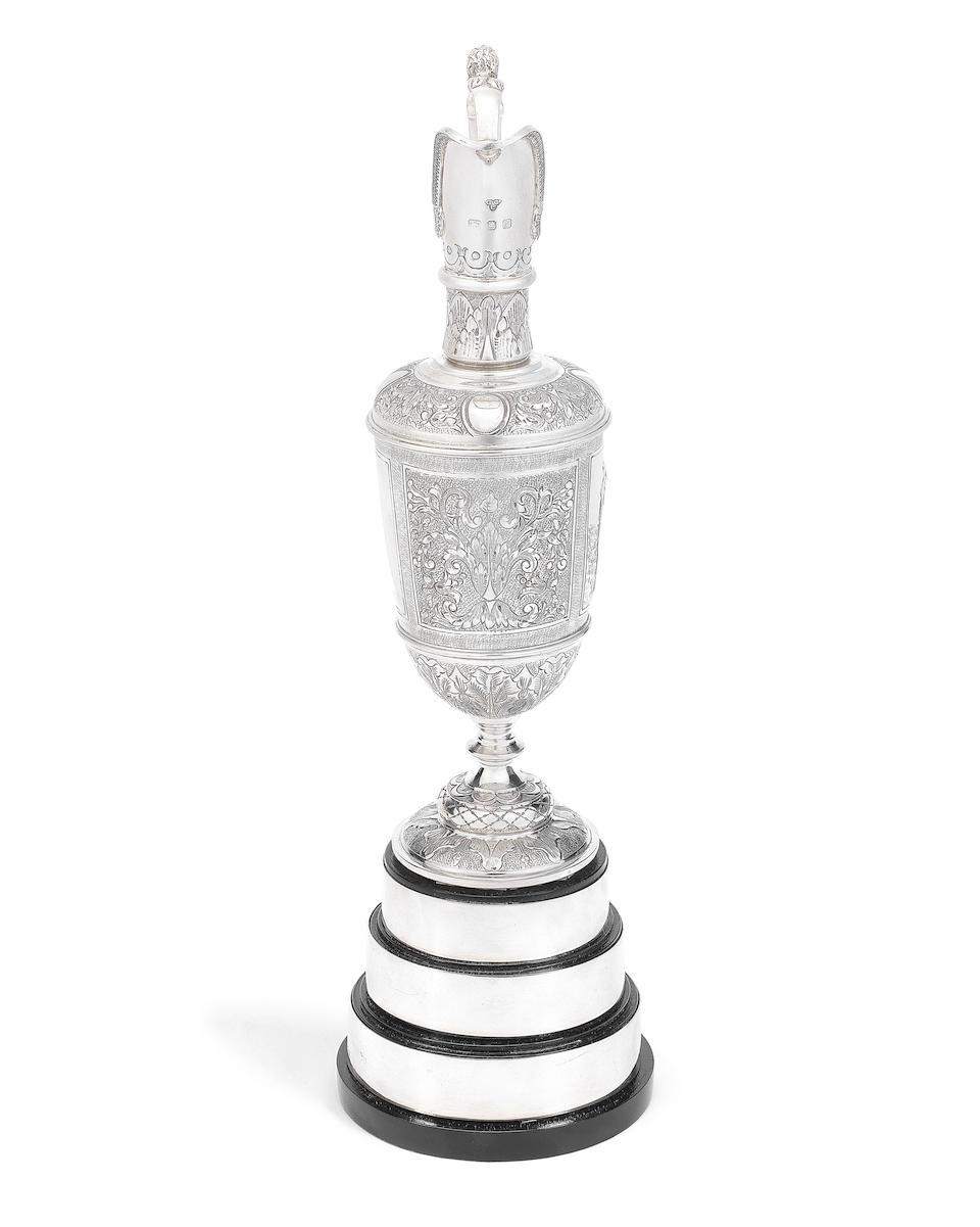 OPEN CHAMPIONSHIP GOLF TROPHY: A silver replica of the Open Championship ewer Garrard & Co Ltd, London 1985