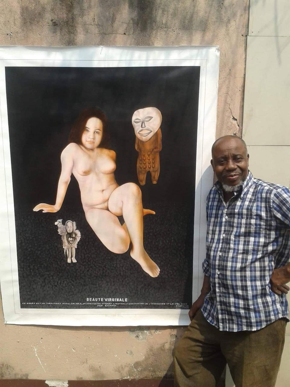 Chéri Samba (Democratic Republic of Congo, born 1956) Beauté Virginale unframed and unstretched.