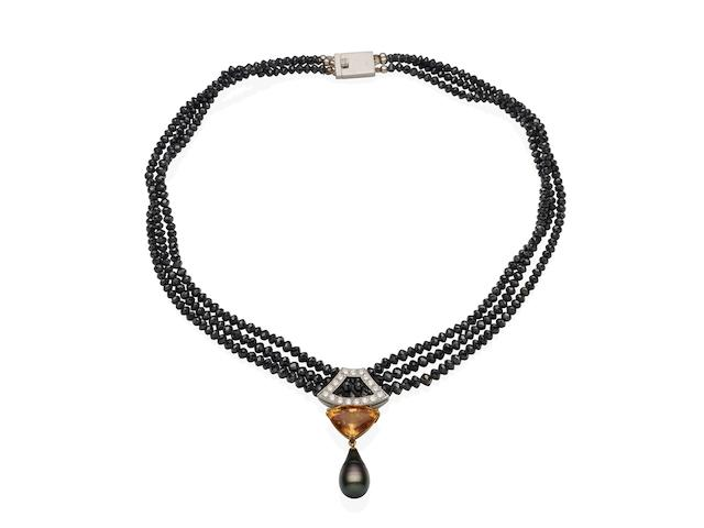 A cultured pearl, topaz, coloured diamond and diamond necklace,