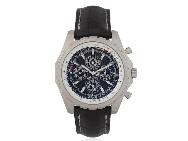 Breitling for Bentley. An 18K white gold Limited Edition automatic perpetual calendar chronograph wristwatch with moon phase, 24-hour, season and leap year indication For Bentley Mulliner, Ref: J29362, Limited Edition No.10/50, Circa 2005