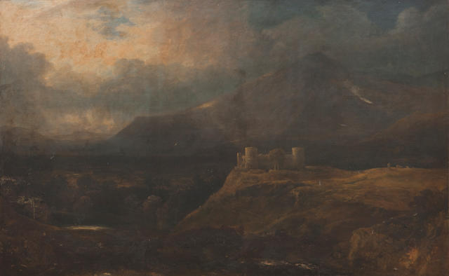 Reverend John Thomson of Duddingston HRS (British, 1778-1840) Morton Castle with Highland landscape beyond 148 x 237.5 cm. (58 1/4 x 93 1/2 in.)