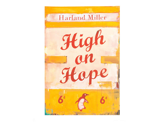 Harland Miller (British, born 1964) High on Hope  Screenprint in colours, 2019, on Somerset White, signed and numbered 56/75 in pencil, printed by K2 Screen, London, published by Counter Editions, London, the full sheet, 760 x 600mm (29 7/8 x 23 5/8)(SH)(unframed)
