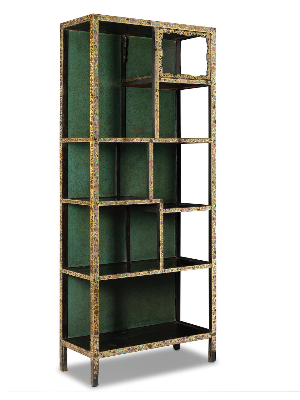 A pair of very rare imperial gilt-lacquer and mother-of-pearl-inlaid display cabinets Yongzheng/Qianlong  (2)