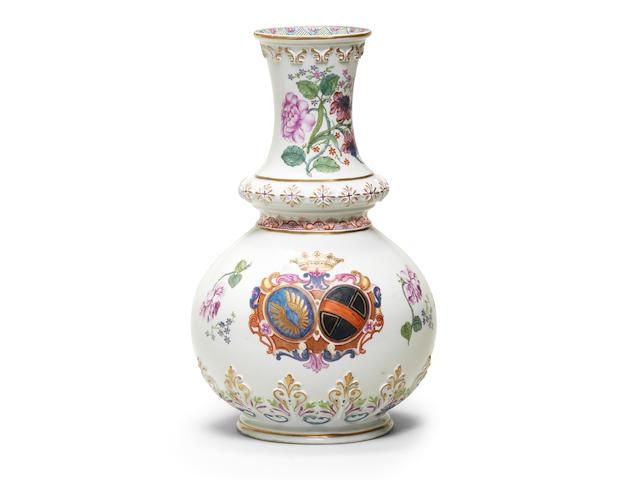 A Du Paquier armorial vase, circa 1730-35