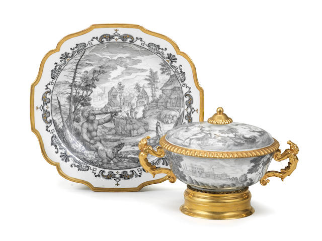An important documentary Du Paquier two-handled ecuelle, cover and stand, circa 1735-40