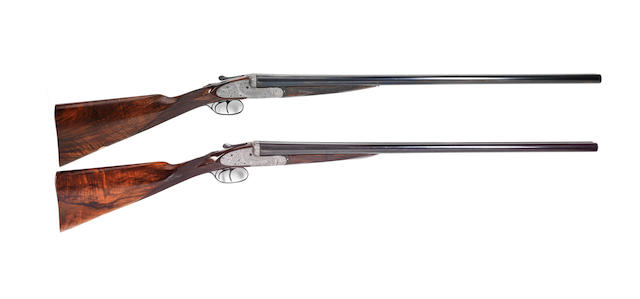 A fine pair of Sumner-engraved 12-bore sidelock ejector guns by John Dickson & Son, no. 6687/8 In their leather case with canvas cover