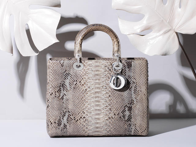 Large Python Lady Dior, Christian Dior, c. 2013, (Includes detachable shoulder strap, authenticity card, dust bag and box)