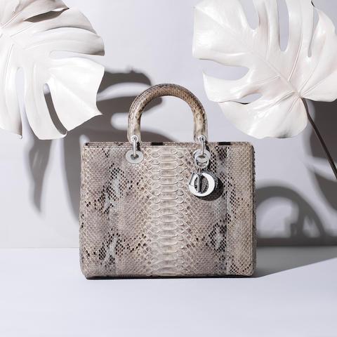 Large Python Lady Dior, Christian Dior, c. 2013, (Includes detachable shoulder strap, authenticity card, dust bag and box)