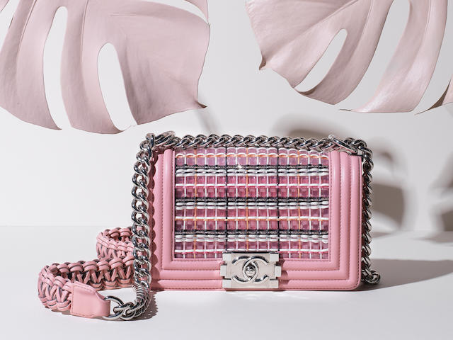 Pink Braided Small Boy Bag,  Chanel, c. 2017-18,  (Includes serial sticker )