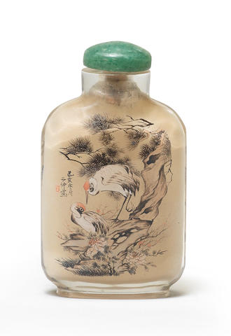 An inside-painted glass snuff bottle Ding Erzhong (1865-1935), cyclically dated to the winter of Jihai, corresponding to 1899 and of the period (2)