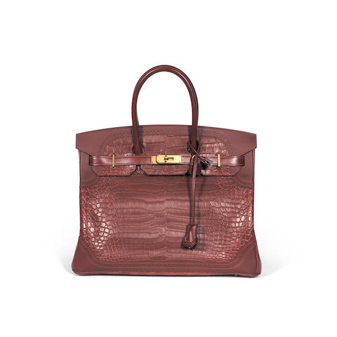 Matte Bourgogne Porosus Crocodile and Rouge H Ghillies Birkin 35, Hermès, Limited Edition c. 2015, (Includes padlock, keys, cloche, rain jacket, and dust bag)
