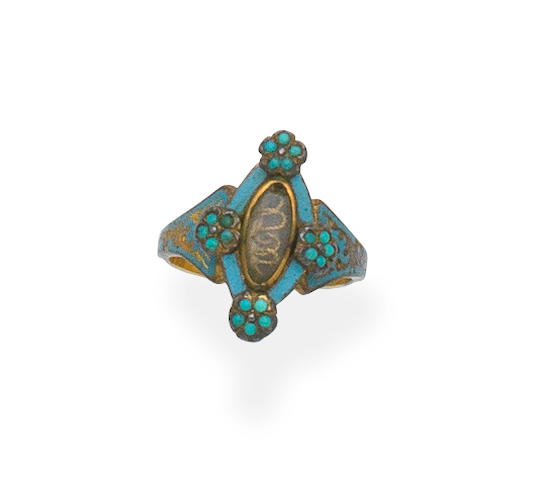 Enamel and turquoise memorial ring, 19th century