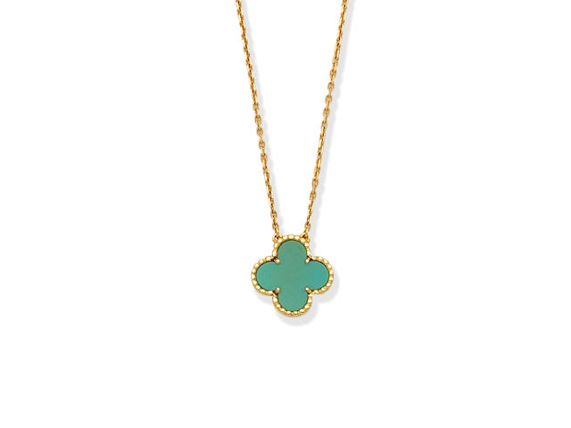 Van Cleef & Arpels: Turquoise 'Alhambra' pendant necklace