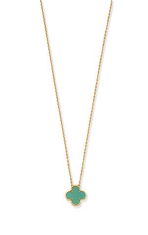 Van Cleef & Arpels: Turquoise 'Alhambra' pendant necklace