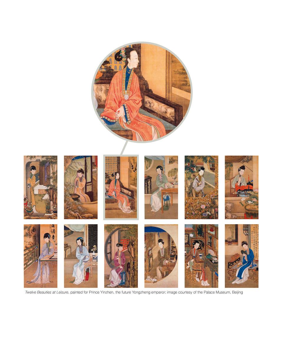 A very rare large court painting of ladies playing chess  Yongzheng/Qianlong