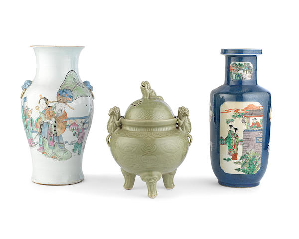 Two enamelled vases and an incense burner and cover Late Qing Dynasty/Republic Period (4)