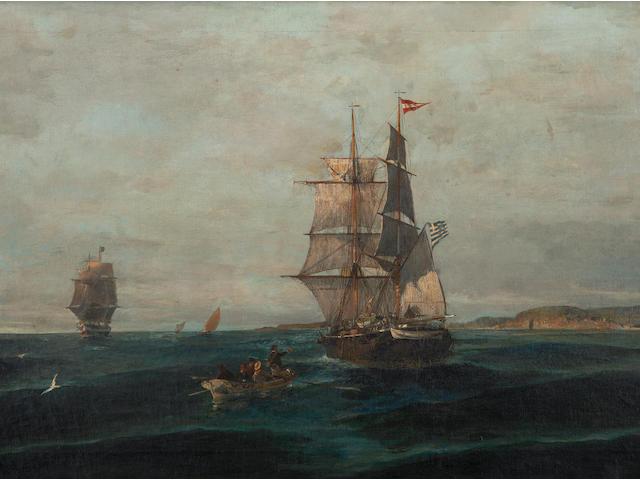 Constantinos Volanakis (Greek, 1837-1907) Debarking  54 x 101 cm.