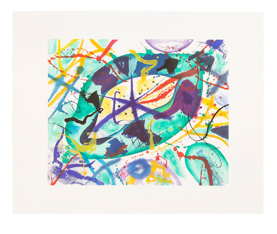 Sam  Francis (1923-1994) Trietto I Etching and aquatint in colours, 1991, on Fabriano wove paper, signed and numbered XII/ XIV in pencil, one of 14 artist's proofs aside from the edition of 66, published by 2RC Edizioni d'Arte, Rome Image 975 x 1200mm. (38 3/8 x 47 1/4in.); Sheet 1343 x 1658mm. (52 7/8 x 65 1/4in.)
