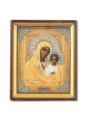 The Kazan Mother of Godmaker's mark Cyrillic 'IF'