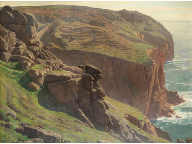 Harold Knight, RA, ROI, RP (British, 1874-1961) Clifftop view near Sennen, Cornwall