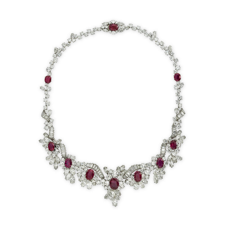 A RUBY AND DIAMOND NECKLACE, CIRCA 1960