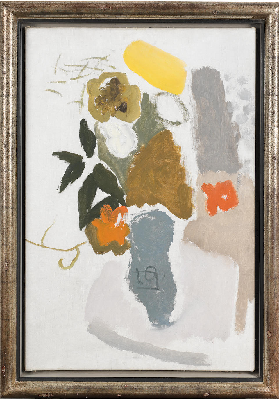 Ivon Hitchens (British, 1893-1979) Dahlias in a Grey Vase 75 x 50.8 cm. (29 1/2 x 20 in.) (Painted circa 1936)