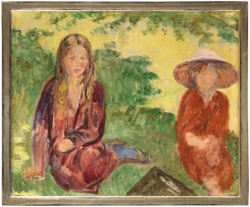 Duncan Grant (British, 1885-1978) Girls on the Lawn, Charleston 40.2 x 50.7 cm. (15 7/8 x 20 in.) (Painted circa 1963)