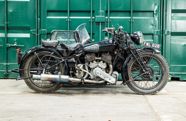 1937 Brough Superior 982cc SS80 & Petrol-Tube Sidecar (see text) Frame no. M8 1605 Engine no. BS/X 4642