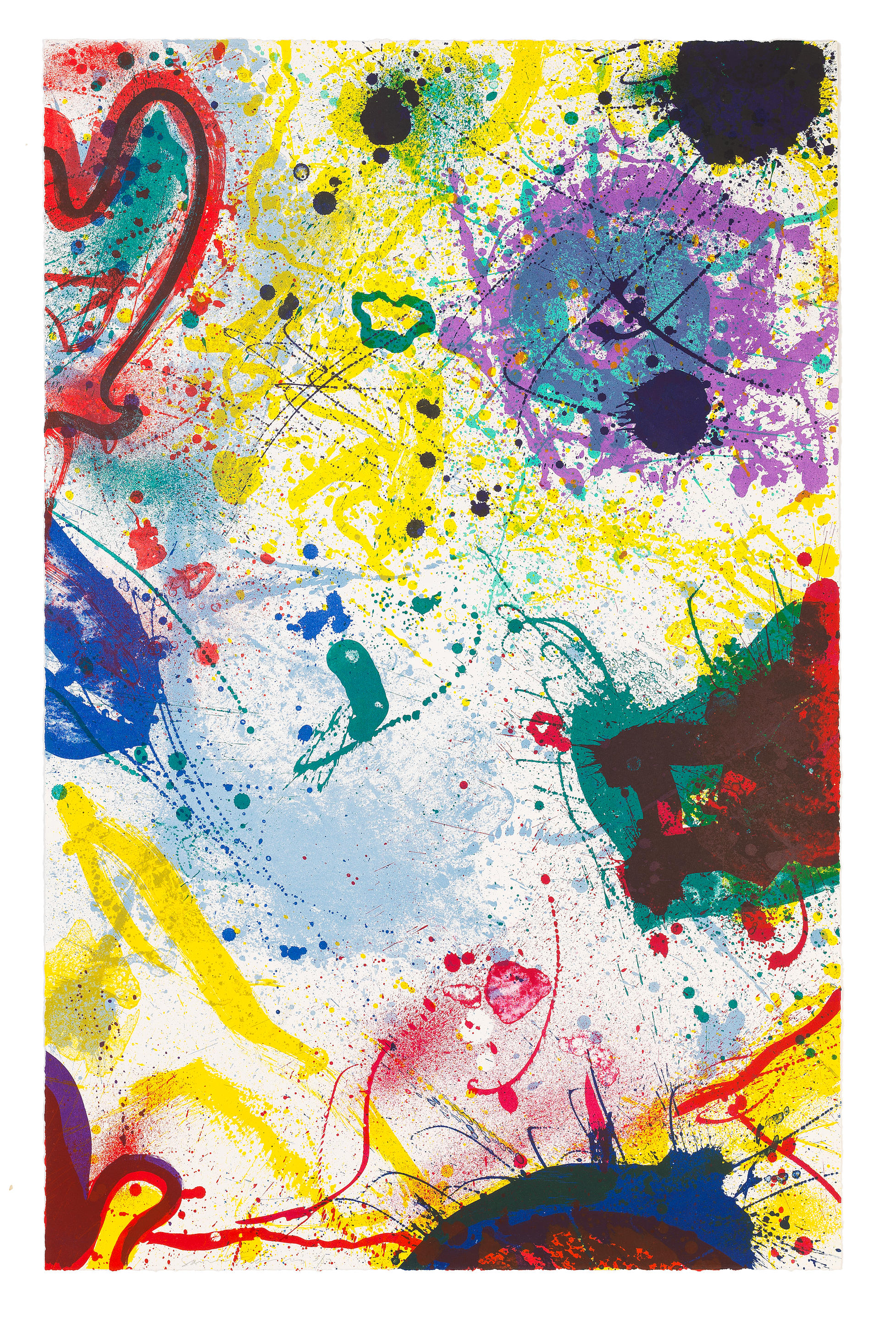 Sam  Francis (1923-1994) Untitled Lithograph in colours, 1991, on wove paper, signed and numbered 3/50 in pencil, published by The Litho Shop Inc., Santa Monica, California  Sheet 1182 x 759mm. (46 1/2 x 29 7/8in.)