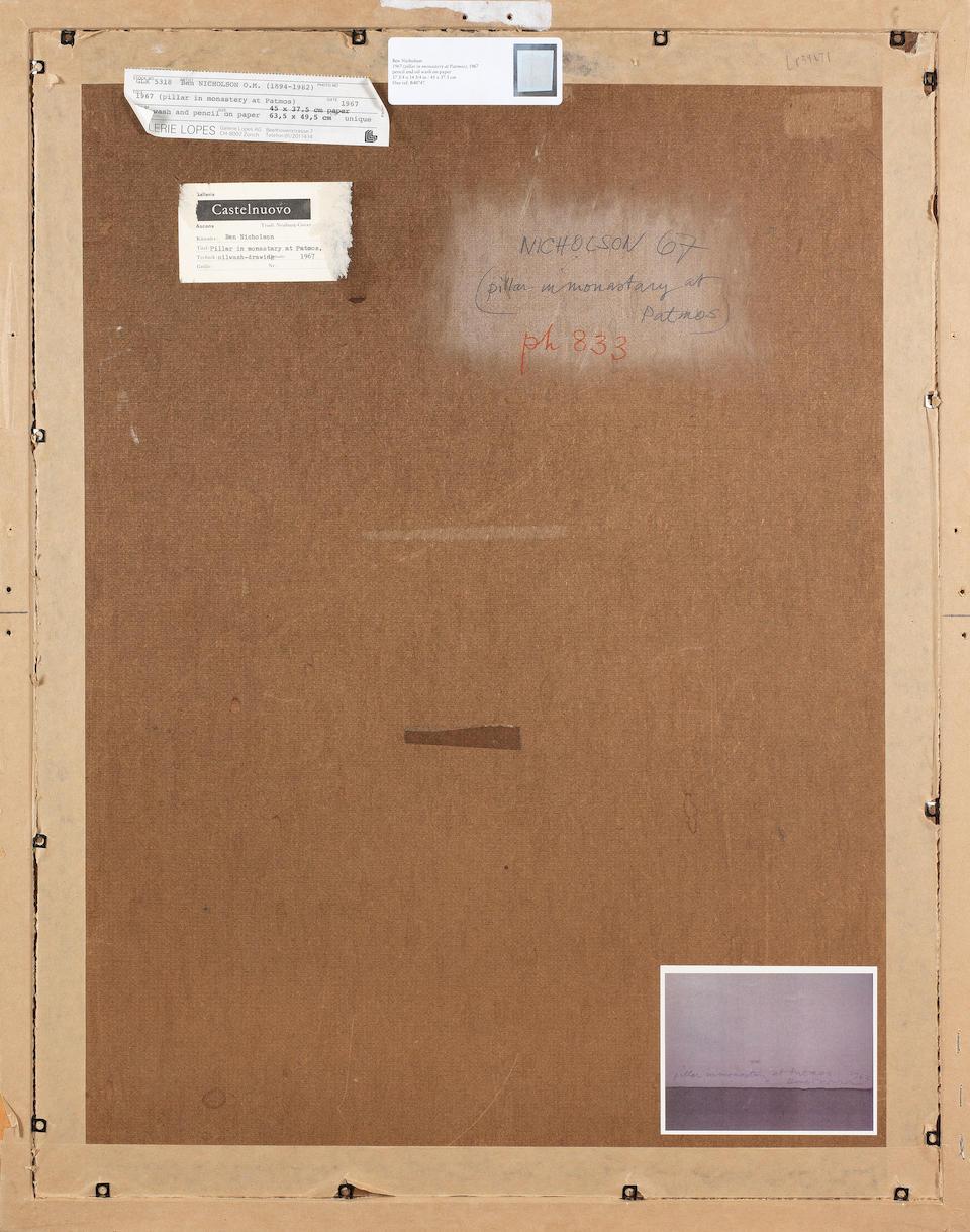 Ben Nicholson O.M. (British, 1894-1982) 1967 (pillar in monastery at Patmos) 66 x 51 cm. (26 x 20 1/8 in.) (including the Artist's prepared backboard)