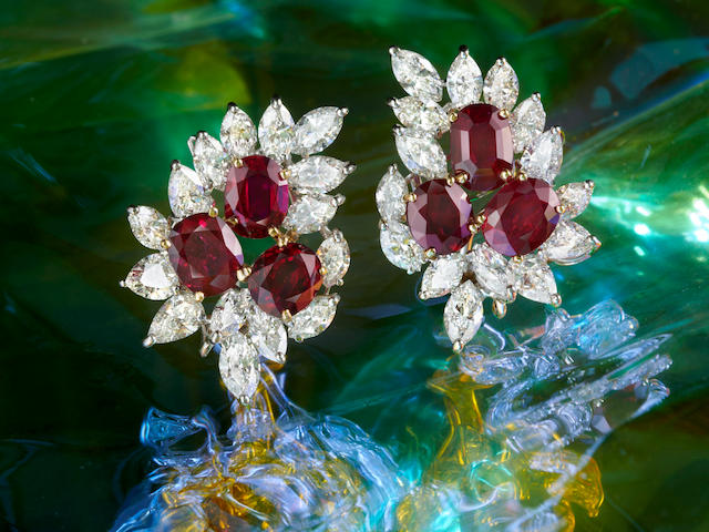 A FINE PAIR OF RUBY AND DIAMOND EARRINGS