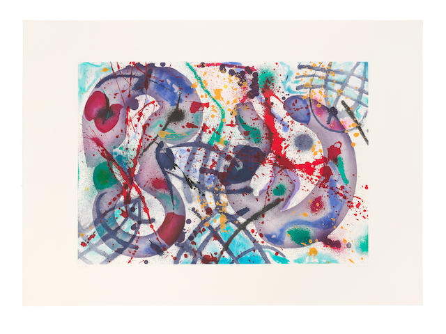 Sam  Francis (1923-1994) Trietto III  Etching and aquatint in colours, 1991, on Fabriano wove paper, signed and numbered 'AP IV/XIV' in pencil, one of 14 artist's proofs aside from the edition of 66, published by 2RC Edizioni d'Arte, Rome Image 683 x 979mm. (26 7/8 x 37 1/2in.); Sheet 970 x 1351mm. (38 1/8 x 53 1/8in.)