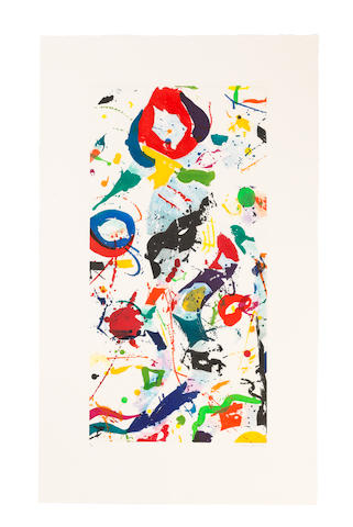 Sam  Francis (1923-1994) Untitled Etching in colours, 1991, on Rives BFK wove paper, signed and numbered 4/20 in pencil, published by The Litho Shop Inc., Santa Monica, CaliforniaImage 910 x 455mm. (35 7/8 x 17 7/8in.); Sheet 1190 x 712mm. (46 7/8 x 28in.)